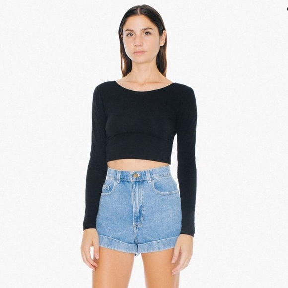 American Apparel Pants - american apparel high waisted jean shorts